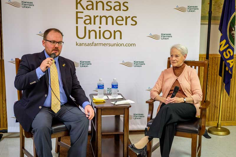 """In the convention keynote, """"Thoughts and Reflections on the Farm Crisis of the 1980s, and How We Came Through It,"""" Senator Kassebaum Baker had a conversation with former KFU V-P Nick Levendofsky about her time in the Senate, her role in the Farm Crisis of the late 70's and early 80's, women in politics, and how things have changed since she left office 20 years ago. Check out the Facebook Live video."""