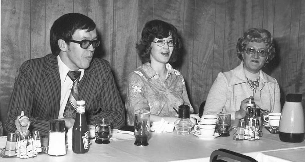 Former Kansas Farmers Union Youth and Education Director Ruth Hirsh, at right, with past KFU staff member Jim Ploger and an unidentified woman in this undated Kansas Farmers Union archive photo.
