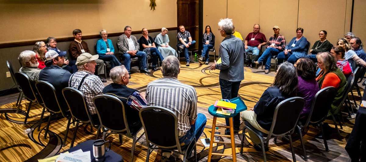 """Kansas Sampler Foundation executive director Marci Penner led an energetic interactive session, """"Let's Talk: Making rural a quality choice"""" on the first day of the Kansas Farmers Union convention."""