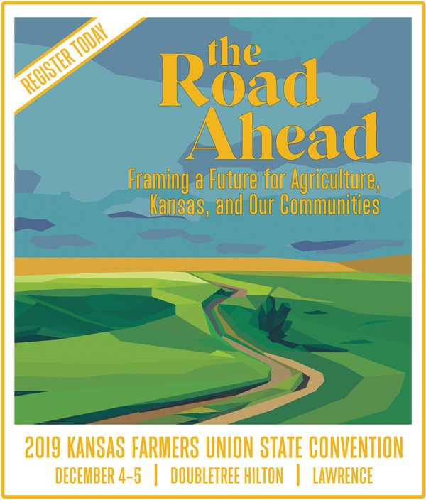 """landscape illustration of filed and a road promoting 2019 KFU State Convention """"The Road Ahead: Framing a Future for Agriculture, Kansas, and Our Communities, December 4-5, 2019 at Doubletree in Lawrence KS"""
