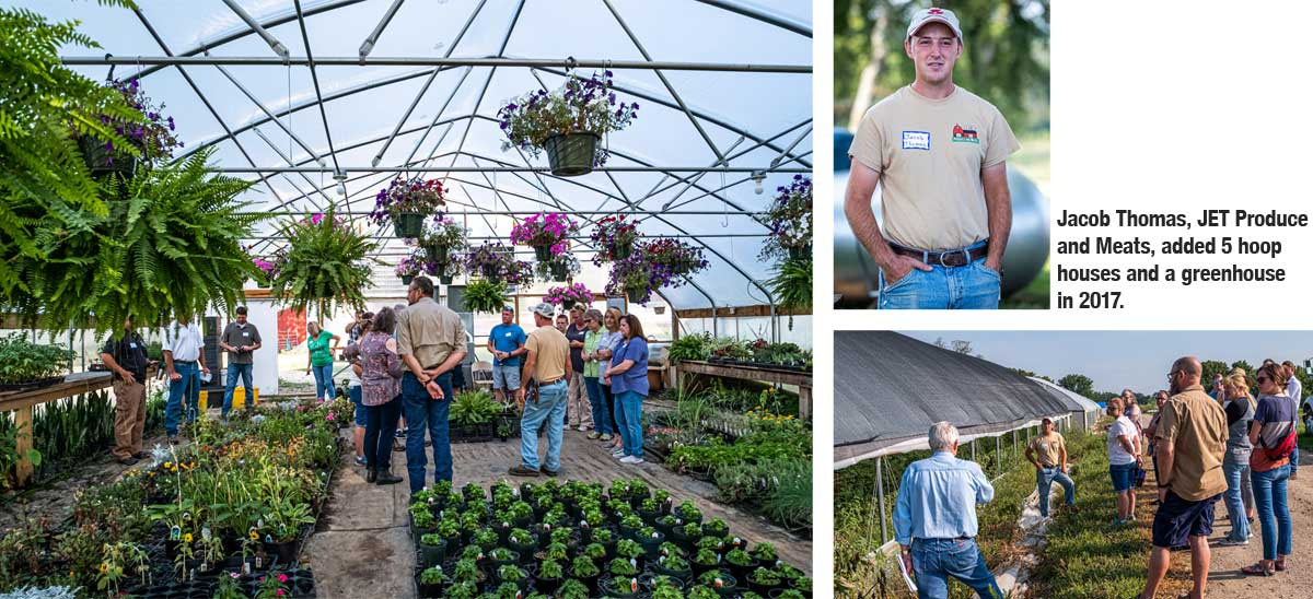 Jacob Thomas, JET Produce and Meats, added 5 hoop houses and a greenhouse in 2017.