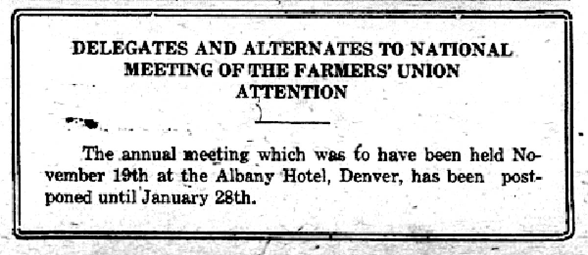 1918 National Farmers Union Convention Postponed Due to Spanish Flu Outbreak