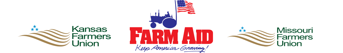 KFU, Farm Aid, and MFU logos