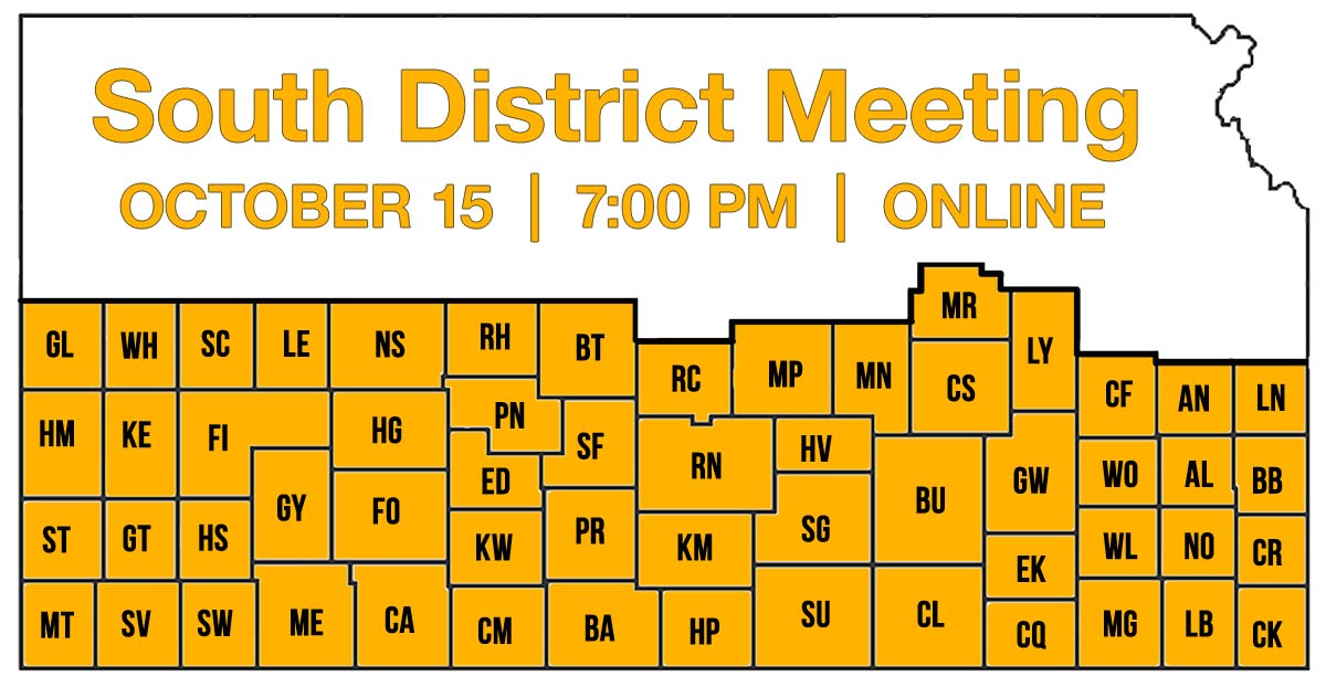 Image of Kansas Farmers Union South District Map and Meeting Information