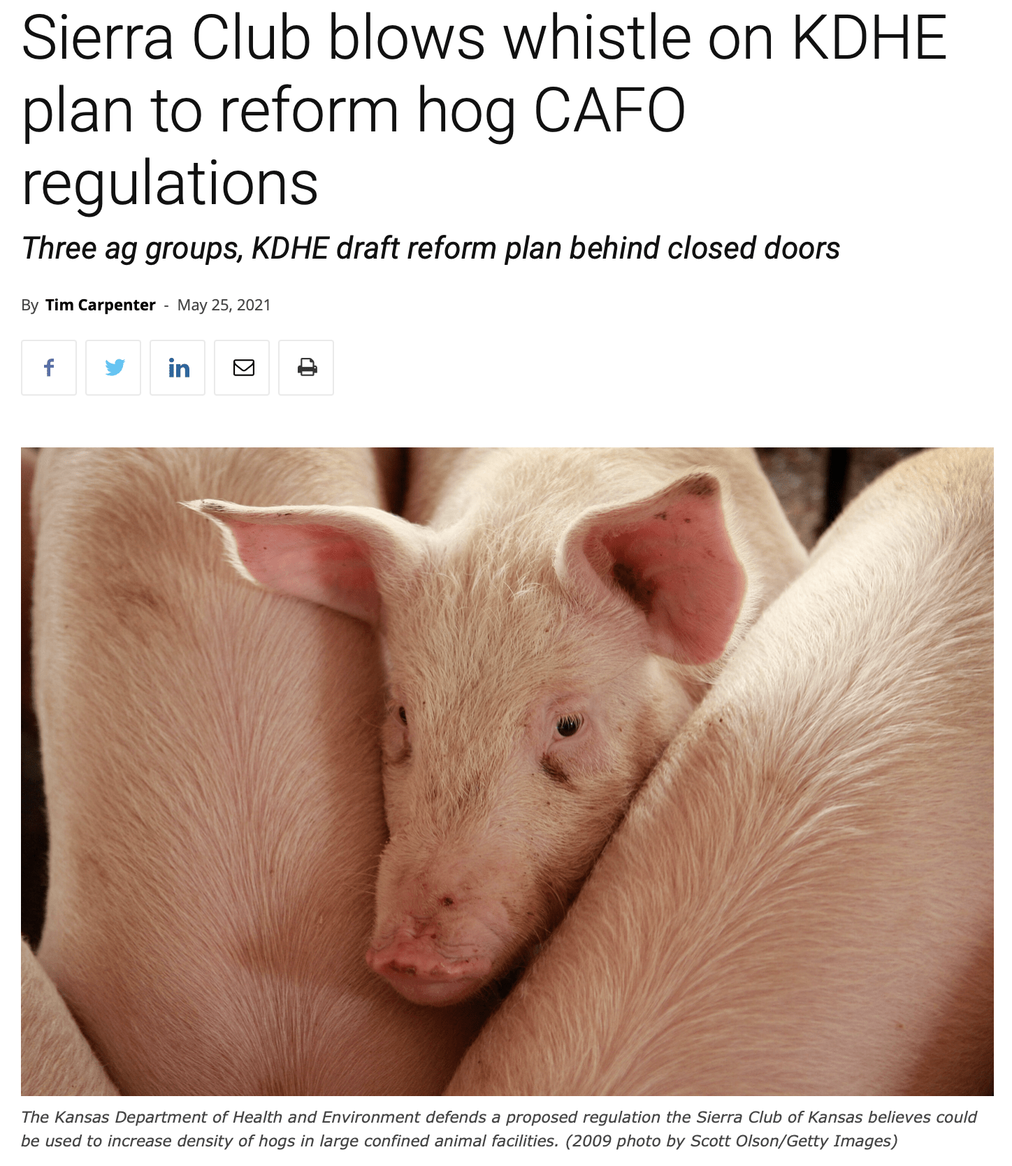 Kansas Reflector article on proposed CAFO rules and regs changes